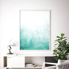 Green Blue Wall Art Teal Abstract Digital Print Abstract