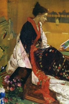 ⊰ Posing with Posies ⊱ paintings & illustrations of women & children with flowers - 'Caprice in Purple and Gold: The Golden Screen' (detail), 1864 - James McNeill Whistler - pre art nouveau James Abbott Mcneill Whistler, Figure Painting, Painting & Drawing, Art Nouveau, Victorian Art, Art Moderne, Art For Art Sake, Western Art, Mellow Yellow