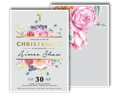 Blush Pink, Coral and Mint Floral Baptism or Christening Invitation, Peony, Roses, Eucalyptus, Magnolia, Succulent, Gold, Foil (Primrose) by FrankieBearDesigns on Etsy