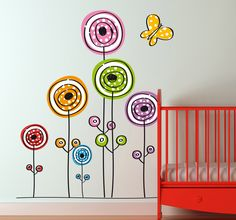 Colourful and playful design of flowers ideal for decorating areas for kids; the nursery, bedrooms and play areas. #Decoration #Wallstickers #flowers