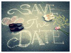 Easy Save The Date-wedding invition .  Use sidewalk chalks!  Chalkboard