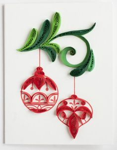 """Quilled Christmas gift enclosure with Christmas ornaments on it - 2.5"""" x 3.5"""""""
