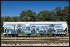 This has surpassed graffiti and turned into art. A mural is painted on a CSX rail car in Terre Haute, Indiana. Street Mural, Street Art Graffiti, Graffiti Bedroom, Mural Art, Murals, American Graffiti, Different Art Styles, Train Art, Rail Car