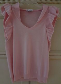 RED Valentino Solid Light Pink Sleeveless Knit Sweater Size S NWOT  #REDValentino #Sweater