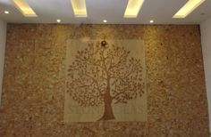 Beautiful natural stone mural and wall cladding used on drawing room wall. Stone Cladding, Wall Cladding, Wooden Door Design, Wooden Doors, False Ceiling Design, Drawing Room, Murals, Natural Stones, Interior Decorating