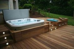 30 Outdoor Spas and Hot Tubs You Deservehomeideas jacuzzi poolspa Outdoor whirlpool kit Whi whirlpool outdoor outdoor whirlpool kit - outdoor . Hot Tub Backyard, Hot Tub Garden, Backyard Patio, Jacuzzi Outdoor Hot Tubs, Backyard Deck Designs, Wood Deck Designs, Terrace Garden, Oberirdische Pools, Sunken Hot Tub