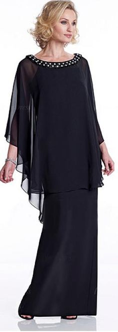 Romantic Chiffon Scoop Neckline Capelet Sleeves Sheath Mother Of The Bride Dress With Beadings