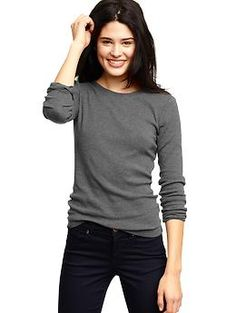 Essential long-sleeve crewneck T in charcoal and navy | Gap  $16.95
