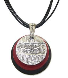 CHICO NECKLACE ADJUSTABLE NEW HIGH END PENDANT PEWTER & ENAMEL DISKS COMFORTABLE DESIGNER JEWELRY!!!
