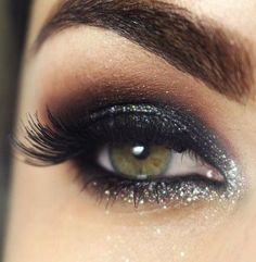 Lashes + Black Smokey + Silver Glitters