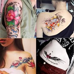 """Dalin 4 Sheets Fashion Temporary Tattoos, Lotus, Koi Fish, Wings, Sexy Lady. <b>SAFE</b>: DaLin Temporary Tattoos Meet Rigid Safety And NON-TOXIC Materials Standard, Passed FDA. <b>LARGE</b>: Sheet size 6""""X 8"""". <b>WATERPROOF</b>: You can go with it to the beach / the pool. <b>LONG LASTING</b>: It will last for 2-7 days, depends on how many showers you take and how many times you scrub the tattoo with soap and water. <b>EASY TO APPLY & REMOVE</b>: Easy to apply in 10-20 seconds with just..."""