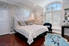 silver and white bedroom