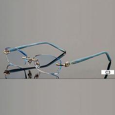 1aee311dd4b Fashion Eyeglasses B002 Diamond Trimming Cutting Rimless Eyeglasses