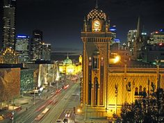 forum theatre Melbourne, looking west along Flinders street past Federation Square to Flinders street train station