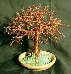 Elm on Terra Cotta Base - Wire Tree Sculpture by salvatore7 on Etsy