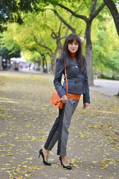 grey pants, orange poloneck, grey jacket, orange bag, girl, woman, clothing, hype, style, chic, autumn, fall, outfit, ootd,