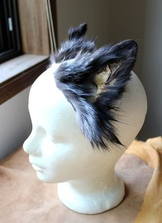 Fox ears headdress - real eco-friendly clip-on silver fox fur ears costume for totemic ritual and dance