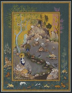 Biblical story of David charming animals with his magical flute, painted by Haydar Hatemi.
