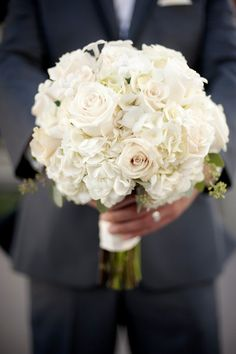 white roses and hydrangeas