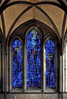 This stained glass window in Salisbury Cathedral was installed in 1980, it is called the Prisoners of Conscience window and was designed by Gabrielle Loire.