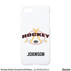 Hockey Sticks Crossed with Name and Puck iPhone 7 Case - $37.95 - Hockey Sticks Crossed with Name and Puck iPhone 7 Case - by #RGebbiePhoto @ #zazzle - #Hockey #Sticks #Puck - Add your name in bold text. Two hockey sticks, crossed in an X design, a puck in front, and the word HOCKEY in bold type. Hockey players, grab your sticks! The two largest Hockey clubs are the US NHL (National Hockey League) and the IIHF (International Ice Hockey Federation).