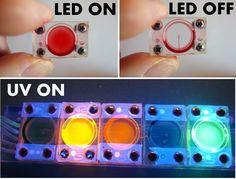 "Vacuum powered fluidic ink ""LED"" light organ"