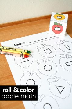 Roll and color apple math with free shapes printable for preschool and kindergarten