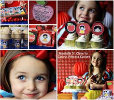 Snow White birthday party printables by CuriousPrincessDIS on Etsy, $24.99 princess princesses NO non disney printable digital water bottle labels cupcakw wraps toppers wrappers invitation favors and more!