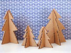 Mini cardboard Christmas trees tutorial.                         Gloucestershire Resource Centre http://www.grcltd.org/scrapstore/