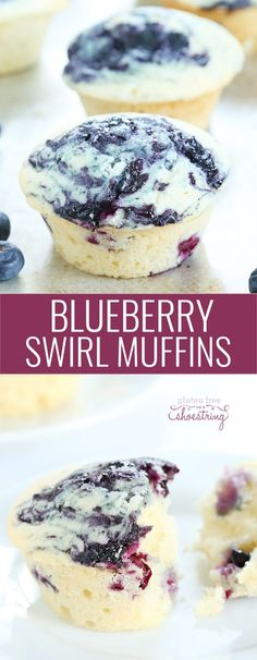 Moist and tender gluten free blueberry swirl muffins with a simple blueberry compote baked right into the top. The perfect muffin! http://glutenfreeonashoestring.com/gluten-free-blueberry-swirl-muffins/