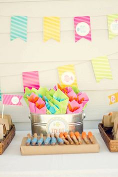 Summer Beach Party - napkin wrap birthday party container.  keeps all the hands from touching everybody else's utensils