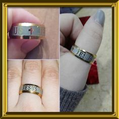 NEW LISTING Jesus/Cross Band Ring Gold and Silver. High quality 316 Titanium Steel, 18K silver/gold plated.  Band style ring is unisex.  Size 6. (3/21) Tamarismomm Jewelry Rings