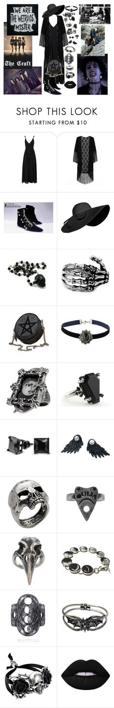 """Batty's Favorite Movies: The Craft"" by gon13-batty ❤ liked on Polyvore featuring Topshop, Bling Jewelry, John Richmond, Pamela Love, Rock Rebel, Lime Crime and Shae"