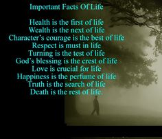 Health is the first of life Wealth is the next of life Character's ... - See more sleep health tips at StopSnoringPlease.com