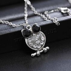 Zinc Alloy Jewelry Necklace, with iron chain, Owl, plated, oval chain & with rhinestone, lead & cadmium free, 15x26mm, Length:Approx 20.5 Inch, 3Strands/Bag,china wholesale jewelry beads
