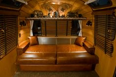 Photo: I built the sofa to convert into a double size bed for guests by simply sliding out the base and placing the rear cushions on it. No fumbling with levers and mechanisms like that of the original Airstream sofa design for the trailer.
