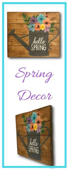 Cute sign! I love the rustic look of the pallet wood and the pretty spring flowers! Hello Spring Sign- Front Door Sign - Welcome Sign - Pallet Sign - Spring Decor- Entryway Decor- Wood Sign- Mantel Decor #ad #afflink #springdecor #spring #pallet #rustic