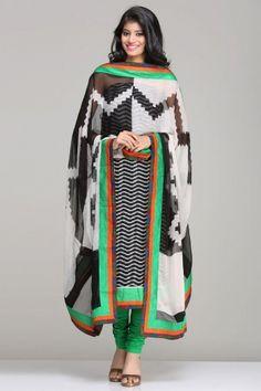 Black & Grey Unstitched Suit With Handloom Cotton Ikat Kurta And A White And Black Ikat Inspired Zigzag Print Chiffon Dupatta