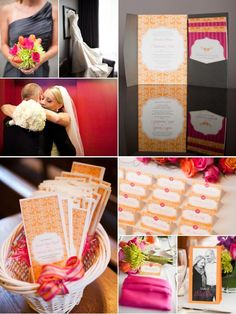 Vibrant tangerine & fuchsia invitation suite designed by the bride's sister: ErinGerman.com,   Photography by SarahPostma.com, Floral Design by FlowersByArrangement.com, Wedding Gown by AngelinaCoutureBridal.com