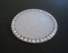 SILVER GLITTER & BLING Coaster - sparkling silver w/ clear rhinestones on Etsy, $4.50