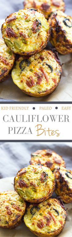 Cauliflower Pizza Bites - SO EASY, customizable, and kid friendly! Make mini versions for a fun paleo appetizer!