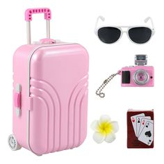 Barwa Travel Set Suitcase Pink Suitcase and Camera with Sunglasses Flower Hair Clip and Play Card for 18 inch American Girl Doll (Pink) Barbie Doll Set, Barbie Doll House, Barbie Toys, Girl Dolls, Baby Dolls, Girl Doll Clothes, Cosas American Girl, American Girl Doll Sets, American Dolls