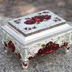 Antique White Silver Red Rosette Wedding Jewelry Boxes for Women Girls SKU-11209073