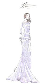 Hablamos de moda y belleza con Blake Lively: el boceto del vestido que luce en el anuncio de Gucci Premiere