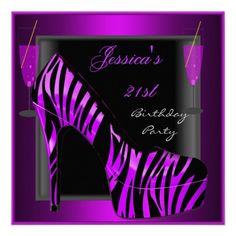 21st Birthday Party Shoe Purple Black Zebra Custom Invite Custom Invitations by Zizzago.com