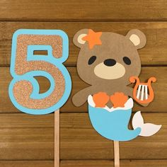 Items similar to Cake Toppers - Mermaid - Bear -Centerpiece - Birthday cake toppers - kids party decor on Etsy Custom Wedding Cake Toppers, Wedding Cakes, First Birthday Cake Topper, Kids Party Decorations, First Birthdays, Centerpieces, Mermaid, Crafting, Cricut