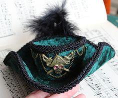 Teal green velvet steampunk mini top hat. by DragonzWenchEmporium