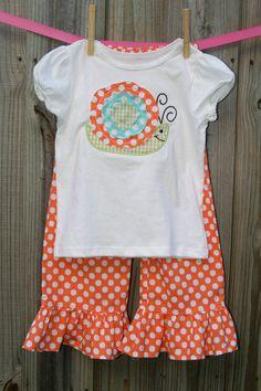 Precious!! My Bella Bums Dotty Snail ruffle pants/capri with applique shirt by MBBcustoms - @Shannon McNitt