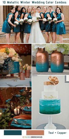 10 Classic Metallic Winter Color Combos -No.9 Teal and Copper #colsbm #weddings #weddingideas #winterweddding