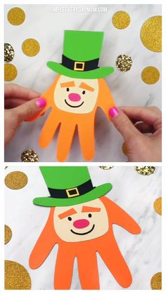 Make This Easy Leprechaun Handprint Craft For St. Patrick's Day Handprint Leprechaun Craft For KidsMake This Easy Leprechaun Handprint Craft For St. Patrick's Day,Teaching Kindergarten Handprint Puck Craft For Kids Make this simple and funny craft for S Daycare Crafts, Diy Crafts For Kids, Fun Crafts, Art For Kids, Art Children, Kids Diy, H Preschool Crafts, Harvest Crafts For Kids, Arts And Crafts For Kids Toddlers